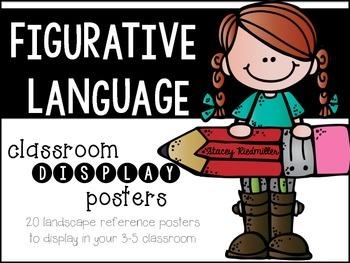 Figurative Language Display Posters (Black & White)