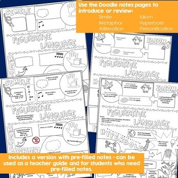 Figurative Language Doodle Notes and Practice Sheets