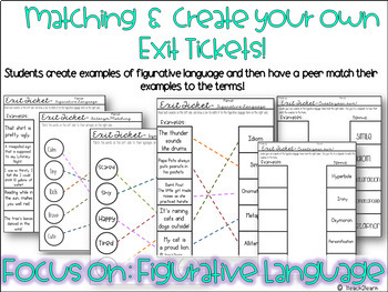 Free - Figurative Language Exit Tickets - Create your Own and Matching