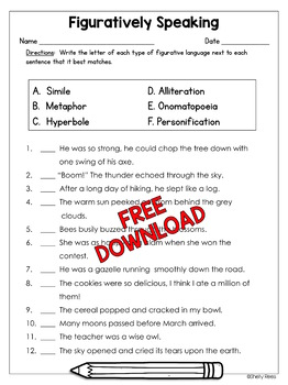 Figurative Language Worksheet Freebie by Shelly Rees | TpT