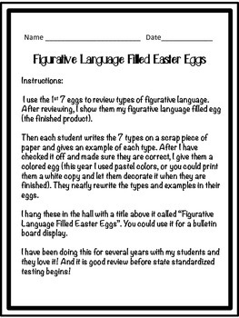 Figurative Language Filled Easter Eggs