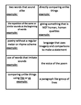 Figurative Language Flash Cards
