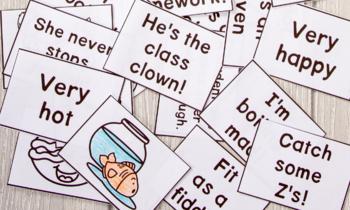 Figurative Language Flashcards: Metaphors, Similes, Idioms, Hyberbole and MORE!