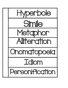 Figurative Language Foldable for Interactive Notebooks