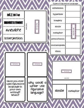 Figurative Language Foldables!  20+ Styles.  Common Core Aligned