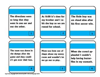 Figurative Language Game - Idioms, Similes, Metaphors, Onomatopoeia