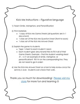 Figurative Language Game - Kick Me!