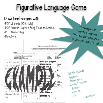 Figurative Language Game with Popular Song Lyrics