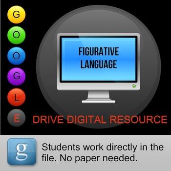 Figurative Language Matching Exercise Google Drive Digital Resource