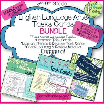 Figurative Language, Grammar, & Literary Terms Task Card BUNDLE