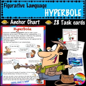 Figurative Language HYPERBOLE UNIT Anchor Chart and Task Cards