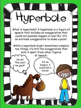 Figurative Language Hyperbole Poster and Lesson Station Task Set