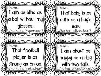 Figurative Language: I Have Who Has Task Cards