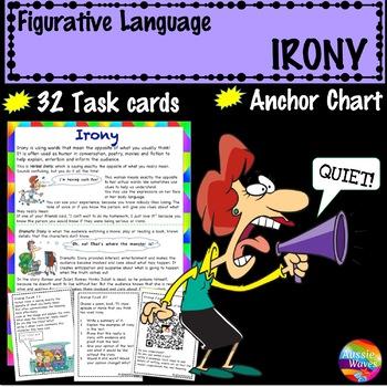Figurative Language IRONY UNIT Anchor Chart and Task Cards