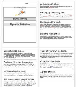 Figurative Language Idiom Partner Activity Plus Exit Slip Quiz