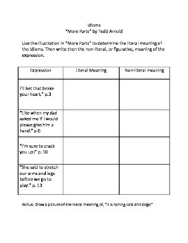 """Figurative Language/ Idioms """"More Parts"""" by Tedd Arnold"""