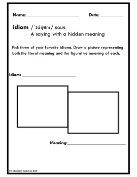 Figurative Language Idioms in Context Cards and Worksheet