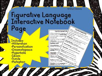 Figurative Language Interactive Notebook Page