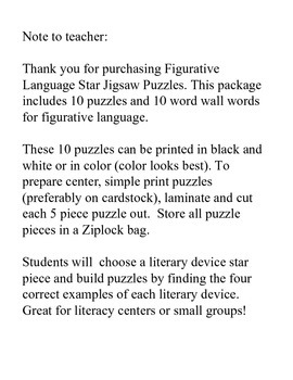 Figurative Language Jigsaw Puzzles and Word Wall Words (Grades 3-6)