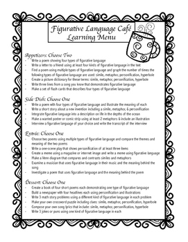 Figurative Language Projects & Activities Learning Menu (C