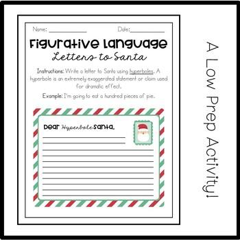Figurative Language Letters to Santa: A Hyperbole Activity