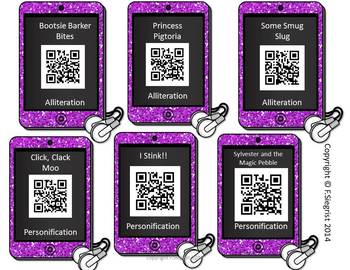 Figurative Language Listening Center QR Codes with Graphic Organizer