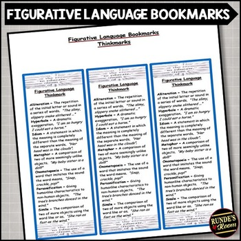 Figurative Language - Literary Element Bookmark
