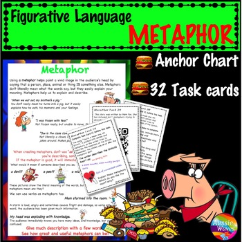 Figurative Language METAPHOR UNIT Anchor Chart and Task Cards