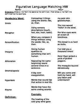 Figurative Language Matching Assignment