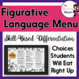 Figurative Language Menu of Differentiated Activities Based on Bloom's Taxonomy
