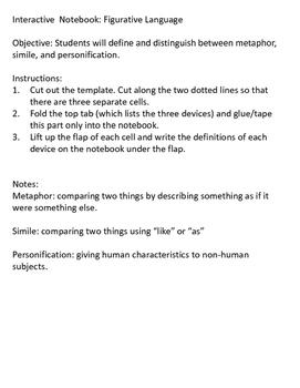 Figurative Language: Metaphor, Simile, and Personification Foldable
