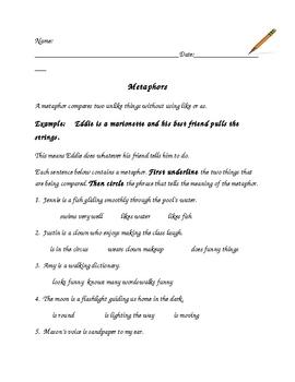 Figurative Language: Metaphor and Similes Activities