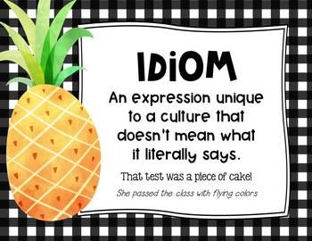 Figurative Language Posters: Pineapple Edition