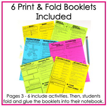 Figurative Language Activities No Cut, Print & Fold Interactive Notebook Booklet