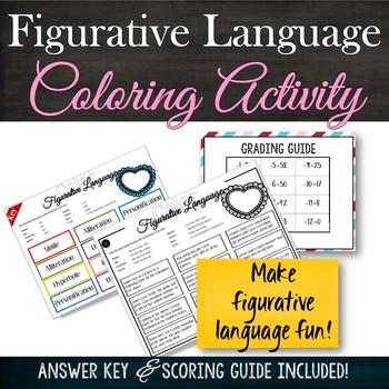 Figurative Language: No Prep! Literary Analysis Coloring Activity: Valentine
