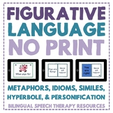 Figurative Language No Print Metaphors, Similes, Idioms, H