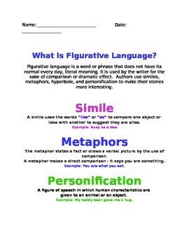 Figurative Language Notes Sheet