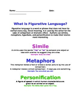 Figurative Language Notes Sheet