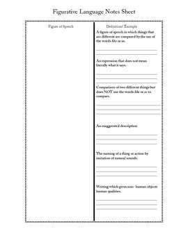 Figurative Language Notes Sheet- Test/Quiz