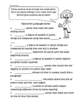 Figurative Language Notes Zombie Style