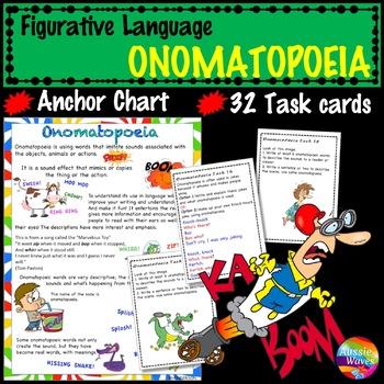 Figurative Language ONOMATOPOEIA UNIT Anchor Chart and Task Cards