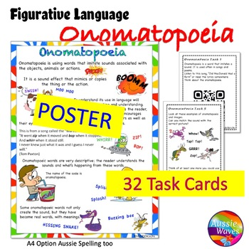 ONOMATOPOEIA Activities Anchor Chart and Task Cards Figurative Language