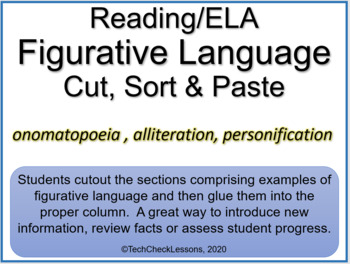 Figurative Language (Onomatopoeia, Alliteration, Personification) Sort & Paste