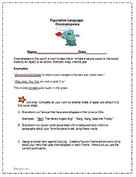 Figurative Language-Onomatopoeia Lesson, Prompts, Activities & More