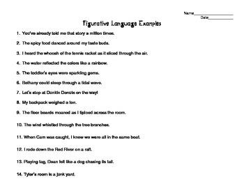 Figurative Language Organizer & Examples