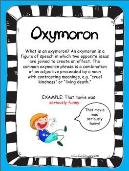 Figurative Language Oxymoron Poster and Lesson Station Task Set