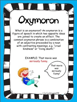 Figurative Language Oxymoron Poster and Lesson Station Task Set