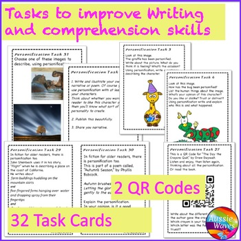 Figurative Language PERSONIFICATION UNIT Anchor Chart and Task Cards