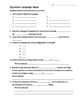 Figurative Language PPT Worksheet