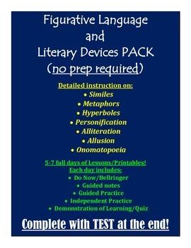 Figurative Language Pack(Simile, Metaphor, Personification, Hyperbole, Allusion)